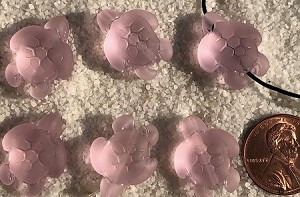 Cultured Sea Glass large hole seaturtle beads for corded jewelry designs <b>20x15mm</b> 06-Blossom Pink per <b>6-pc-bag</b>