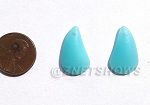 Cultured Sea Glass Teardrop Earring Set - puffed front with flat back  <b>21x13mm</b> 46-Opaque Blue Opal per <b>1-pair-bag</b>