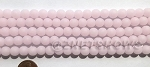 Cultured Sea Glass round Beads <b>8mm</b> 48-Opaque blossom pink per  24 pcs in 8-in-str <b>5-str-hank</b>