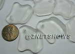 Cultured Sea Glass ridged freeform Pendants <b>35x23mm</b> 01-Crystal per <b>10-pc-bag</b>