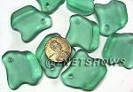 Cultured Sea Glass ridged freeform Pendants <b>35x23mm</b> 89-Autumn Green per <b>10-pc-bag</b>