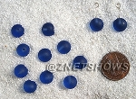 Cultured Sea Glass half-drilled round  Beads <b>8mm </b> 31-Light Sapphire per <b>12-pc-bag</b>
