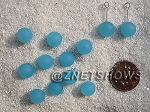 Cultured Sea Glass half-drilled round  Beads <b>8mm </b> 46-Opaque Blue Opal per <b>12-pc-bag</b>