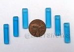 Cultured Sea Glass baby-size elongated puffed rectangle Pendants <b>6x22mm</b> 30-Pacific Blue per <b>6-pc-bag</b>