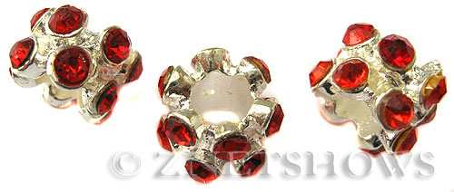 BM Large Hole Beads <b>10x8mm</b> Other Colors flower with red quartz beads - Silver Plated per   <b>5-pc-bag</b>