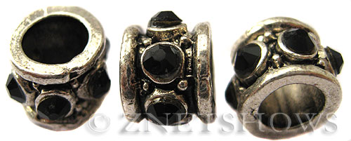 BM Large Hole Beads <b>11x8mm</b> Other Colors black quartz beads - Silver Plated per   <b>5-pc-bag</b>