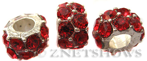BM Large Hole Beads <b>12x7mm</b> Other Colors red quartz beads - Silver Plated per   <b>5-pc-bag</b>