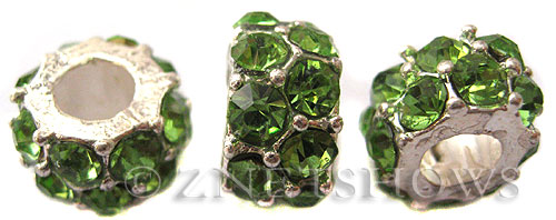 BM Large Hole Beads <b>12x7mm</b> Other Colors green quartz beads - Silver Plated per   <b>5-pc-bag</b>