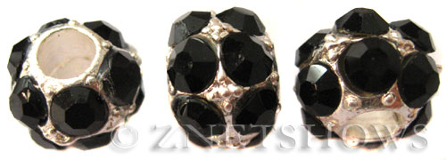 BM Large Hole Beads <b>12mm</b> Other Colors black quartz beads - Silver Plated per   <b>5-pc-bag</b>
