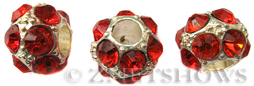 BM Large Hole Beads <b>12mm</b> Other Colors red quartz beads - Silver Plated per   <b>5-pc-bag</b>