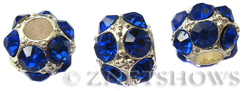 BM Large Hole Beads <b>12mm</b> Other Colors blue quartz beads - Silver Plated per   <b>5-pc-bag</b>