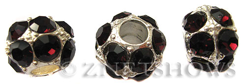 BM Large Hole Beads <b>12mm</b> Other Colors dark purple quartz beads - Silver Plated per   <b>5-pc-bag</b>