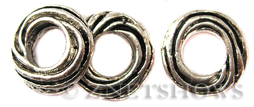 BM Large Hole Beads <b>12x3mm</b> Other Colors donut Beads - Silver Plated per   <b>10-pc-bag</b>