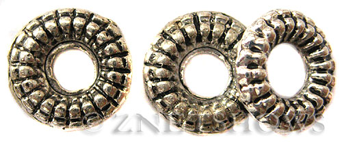 BM Large Hole Beads <b>12x3mm</b> Other Colors rondelle Beads - Silver Plated per   <b>10-pc-bag</b>