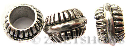 BM Large Hole Beads <b>10x6mm</b> Other Colors drum Beads - Silver Plated per   <b>10-pc-bag</b>