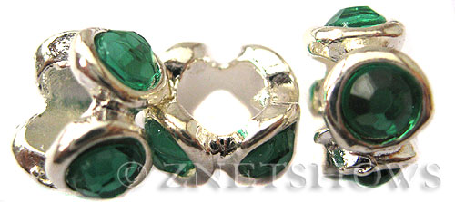 BM Large Hole Beads <b>10x6mm</b> Other Colors rondelle beads with green crystals - Silver Plated per   <b>5-pc-bag</b>