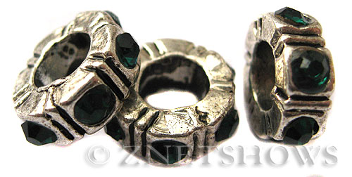 BM Large Hole Beads <b>10mm</b> Other Colors donut green beads - Silver Plated per   <b>5-pc-bag</b>