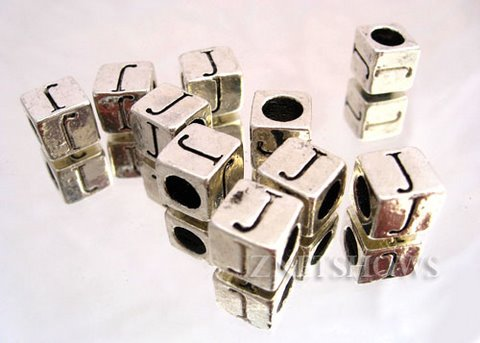 BM Large Hole Letters <b>about 10x9mm</b> Antique Silver Tone silver-plated alloy carved with J per   <b>10-pc-bag </b>