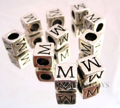 BM Large Hole Letters <b>about 10x9mm</b> Antique Silver Tone silver-plated alloy carved with M per   <b>10-pc-bag </b>
