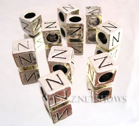 BM Large Hole Letters <b>about 10x9mm</b> Antique Silver Tone silver-plated alloy carved with N per   <b>10-pc-bag </b>