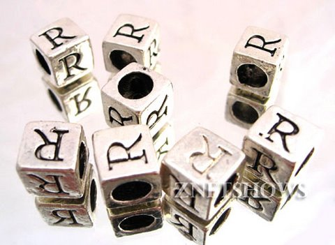 BM Large Hole Letters <b>about 10x9mm</b> Antique Silver Tone silver-plated alloy carved with R per   <b>10-pc-bag </b>
