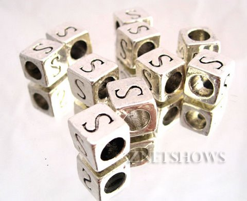 BM Large Hole Letters <b>about 10x9mm</b> Antique Silver Tone silver-plated alloy carved with S per   <b>10-pc-bag</b>