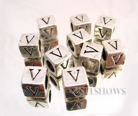 BM Large Hole Letters <b>about 10x9mm</b> Antique Silver Tone silver-plated alloy carved with V per   <b>10-pc-bag</b>