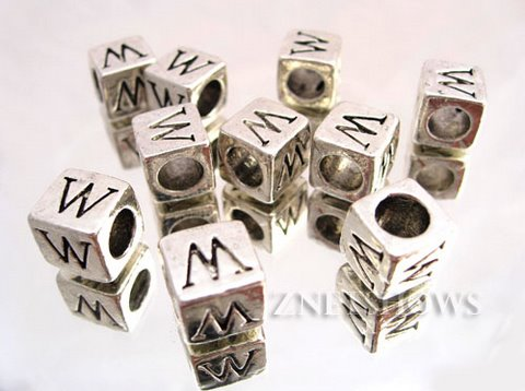 BM Large Hole Letters <b>about 10x9mm</b> Antique Silver Tone silver-plated alloy carved with W per   <b>10-pc-bag</b>