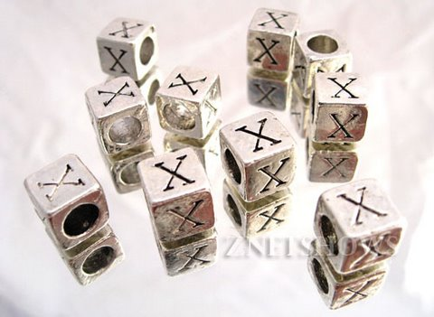 BM Large Hole Letters <b>about 10x9mm</b> Antique Silver Tone silver-plated alloy carved with X per   <b>10-pc-bag</b>