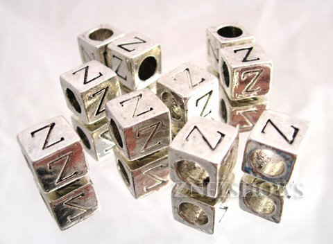 BM Large Hole Letters <b>about 10x9mm</b> Antique Silver Tone silver-plated alloy carved with Z per   <b>10-pc-bag</b>