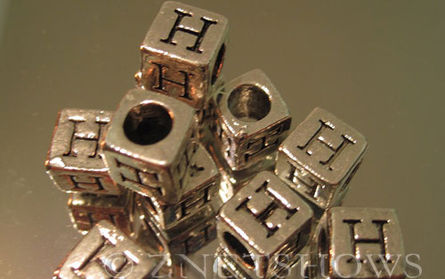BM Large Hole Letters <b>about 10x9mm</b> Antique Silver Tone large hole silver-plated alloy carved with H per   <b>10-pc-bag</b>