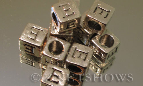 BM Large Hole Letters <b>about 10x9mm</b> Antique Silver Tone large hole silver-plated alloy carved with E per   <b>10-pc-bag</b>
