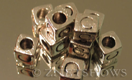 BM Large Hole Letters <b>about 10x9mm</b> Antique Silver Tone large hole silver-plated alloy carved with C per   <b>10-pc-bag</b>