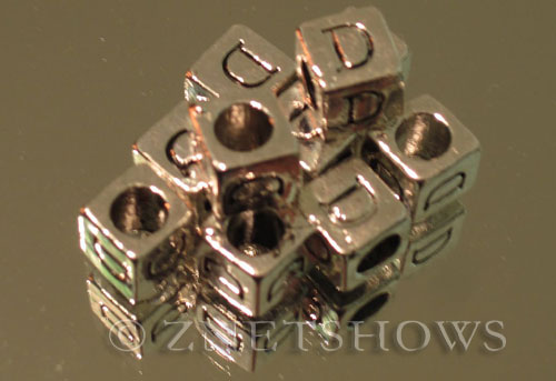 BM Large Hole Letters <b>about 10x9mm</b> Antique Silver Tone large hole silver-plated alloy carved with D per   <b>10-pc-bag</b>