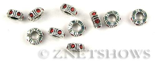 BM Rifled Screw Stoppers <b>10mm</b> Antique Silver Tone Silver-plated alloy 3.5mm large screw hole with red crystals(not suitable for pandora)40% off per   <b>5-pc-bag</b>