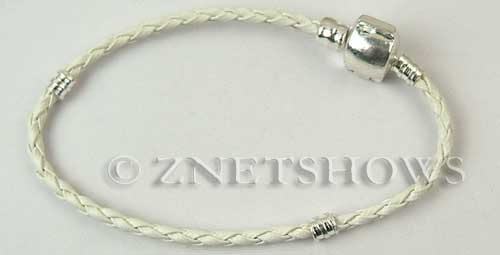 BM Bracelets <b>about 8.5 inches</b> Antique Silver Tone white leatheroid braid cord with silver-plated magnetic copper clasp per   <b>1-str-bag</b>