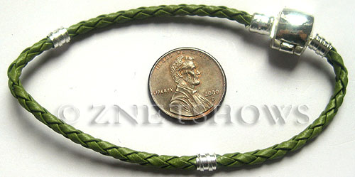 BM Bracelets <b>about 8.5 inches</b> Antique Silver Tone green leatheroid braid cord with silver-plated magnetic copper clasp  per   <b>1-str-bag</b>