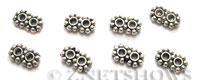 Base Metal Beads <b>7x4mm</b> Antique Silver Tone double Daisy (same piece qty as the 5-bag-hank) per   <b>230-pc-bag</b>