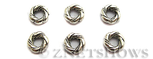 Base Metal Beads <b>12mm</b> Antique Silver Tone twisted banding ring (7-pc-bag) per   <b>5 Bags</b>