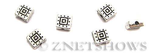 Base Metal Beads <b>6mm</b> Antique Silver Tone double square pattern (15-pc-bag) per   <b>5 Bags</b>