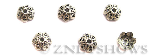 Base Metal Beads <b>9mm</b> Antique Silver Tone 6 petal rope pattern flower bead caps (23-pc-bag) per   <b>5 Bags</b>