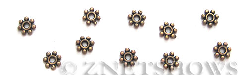 Base Metal Beads <b>4mm</b> Antique Copper Tone tiny Daisy (190-pc-bag) per   <b>5 Bags</b>