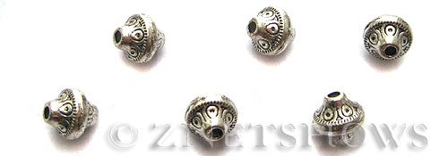 Base Metal Beads <b>7x6mm</b> Antique Silver Tone (9-pc-bag) per   <b>5 Bags</b>