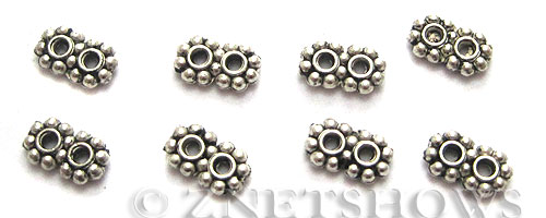 Base Metal Beads <b>7x4mm</b> Antique Silver Tone double Daisy (46-pc-bag) per   <b>5 Bags</b>