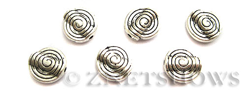 Base Metal Beads <b>11mm</b> Antique Silver Tone spiral pattern (7-pc-bag) per   <b>5 Bags</b>