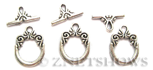 BM Toggle Clasps <b>20x14mm</b> Antique Silver Tone morning glory vine  per   <b>5-set-bag</b>