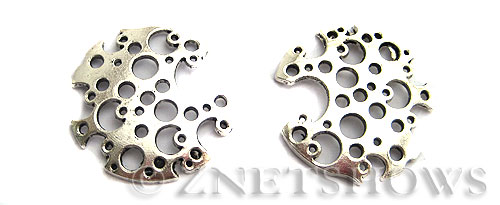 Base Metal Charms <b>30mm</b> Antique Silver Tone Hollow (2-pc-bag) per   <b>5 Bags</b>
