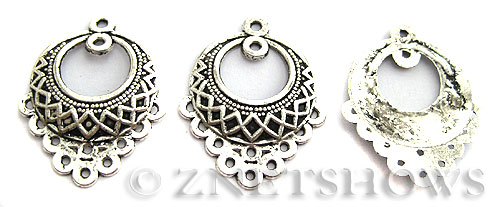 Base Metal Charms <b>33x25mm</b> Antique Silver Tone Flower Basket (4-pc-bag) per   <b>5 Bags</b>