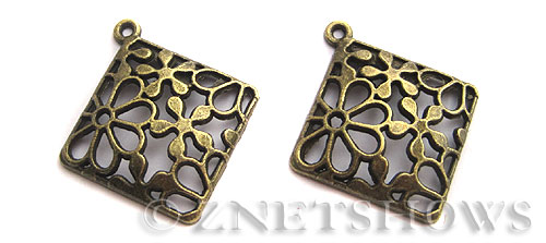 Base Metal Charms <b>38x34mm</b> Antique Brass Tone Flower Pattern (2-pc-bag) per   <b>5 Bags</b>