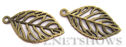 Base Metal Charms <b>49x27mm</b> Antique Brass Tone Elm Leaf (2-pc-bag) per   <b>5 Bags</b>